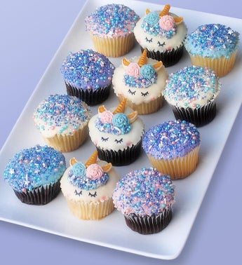 Mythical Unicorn White Chocolate Dipped Cupcakes