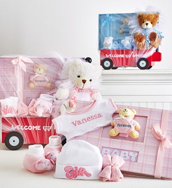 Hello Baby Boy or Girl  Wagon Bear  Book