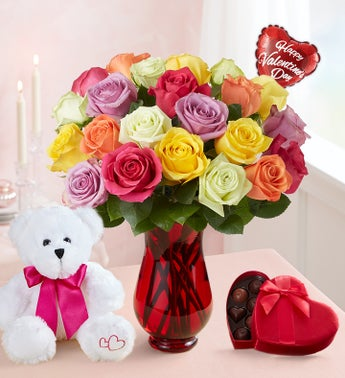 Two Dozen Assorted Roses for Romance