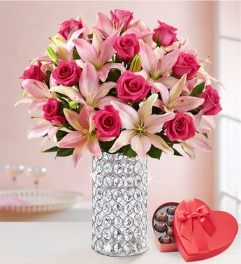 Pink Rose  Lily Bouquet for Valentines Day
