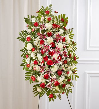 Red Rose  Lily Sympathy Standing Spray