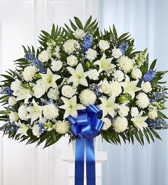Heartfelt Sympathies Blue  White Standing Basket