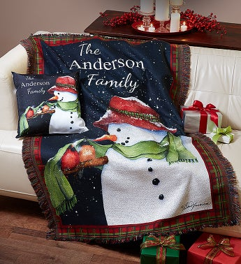 Personalized Snowman Throw Blanket and Pillow Set