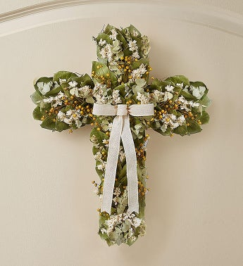 Preserved Cross Wreath for Sympathy