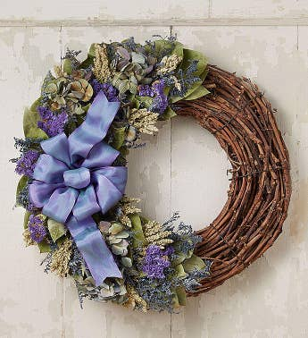 Preserved Blue Jewel Luna Wreath - 18