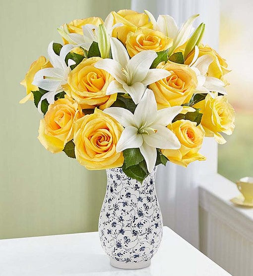 Fair Trade Yellow Rose & White Lily Bouquet