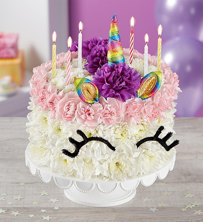 Birthday Wishes Flower Cake Unicorn