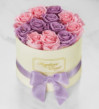 Magnificent Roses Preserved Lavender and Pink Duo Roses