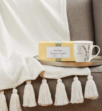 Warm  Cozy Tea Gift Set- Tea Mug and Blanket