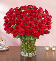 100 Premium Long Stem Red Roses
