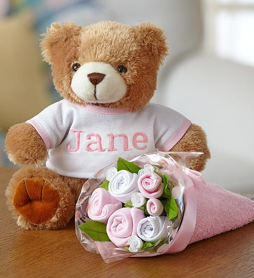 Personalized Bear & Layette Bouquet- Pink or Blue