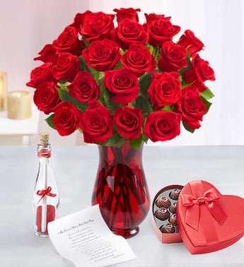 Message in a Bottle with Red Roses