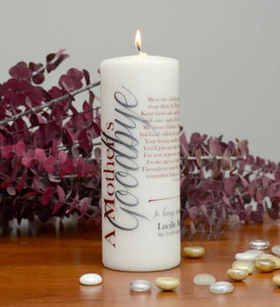 A Mothers Goodbye Memorial Candle