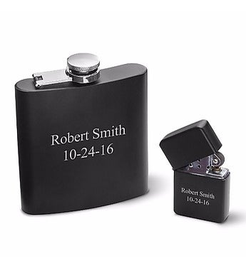 Personalized Black Matte Flask and Lighter Gift Set