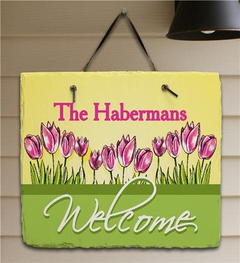 Spring Tulips Personalized Welcome Plaque