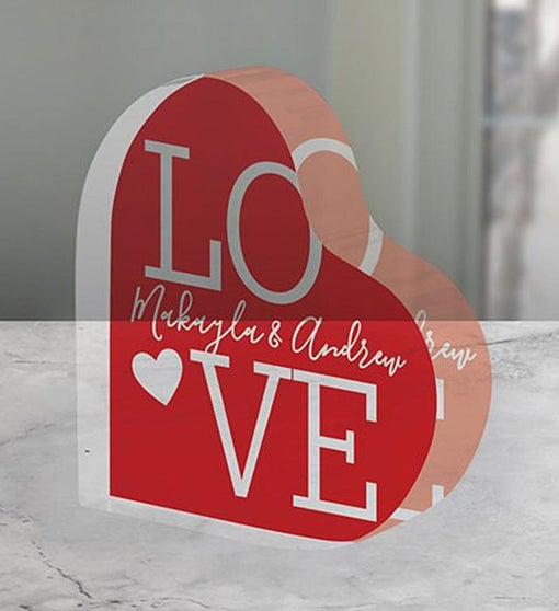 Personalized L.O.V.E. Acrylic Heart Keepsake