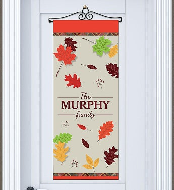 Personalized Fall Leaves Wall Hanging Door Banner