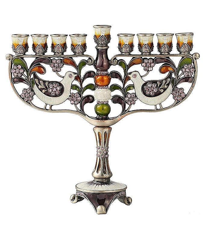 Hand Painted Menorah Candelabra