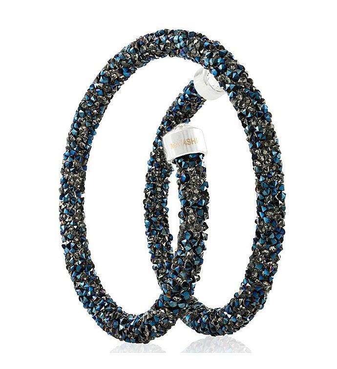 Metallic Blue Glittery Wrap Around Crystal Bracelet