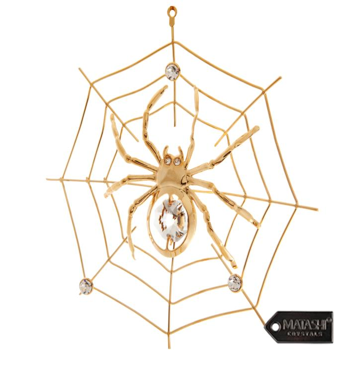 Gold Plated Crystal Spider on Spider Web Ornament