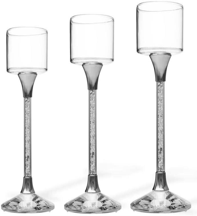 Tea Light Candlesticks with Crystal Filled Stems