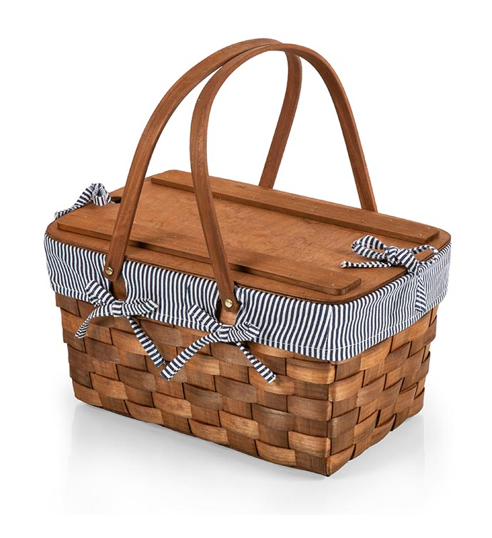 Kansas Handwoven Wood Picnic Basket