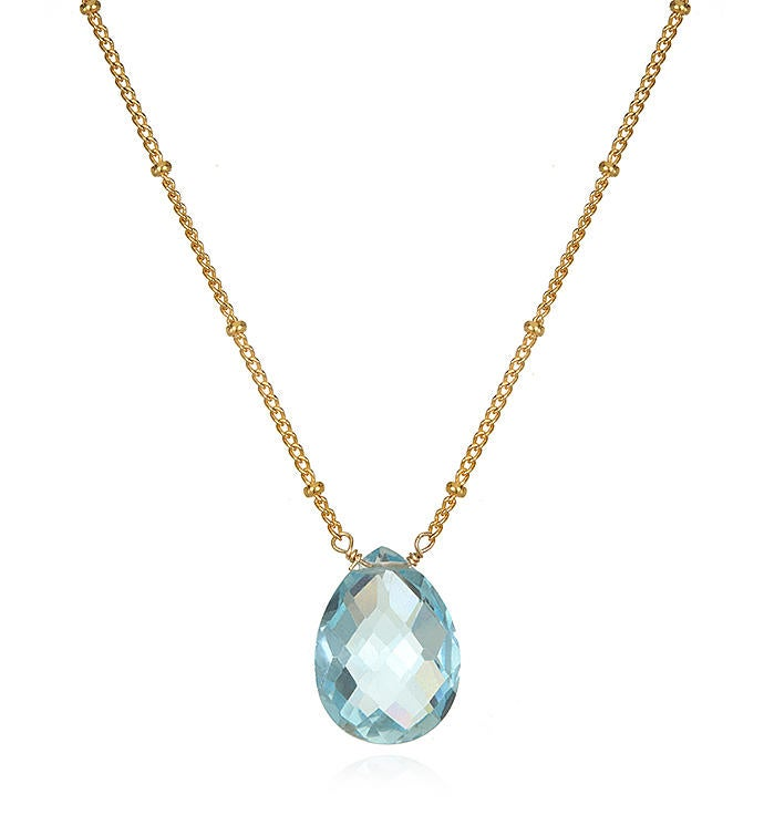 Blue Topaz Gold Pear Shape Drop Necklace