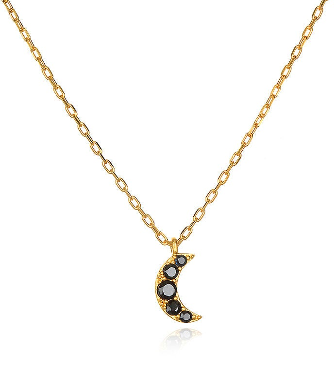 Blue Sapphire Gold Crescent Moon Necklace