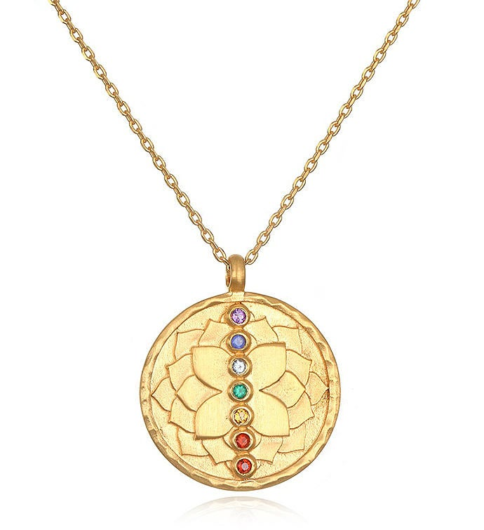 Multi Stone Chakra Lotus Necklace