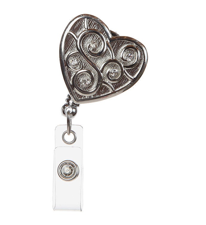 Love Always Silver Heart Id Badge Reel