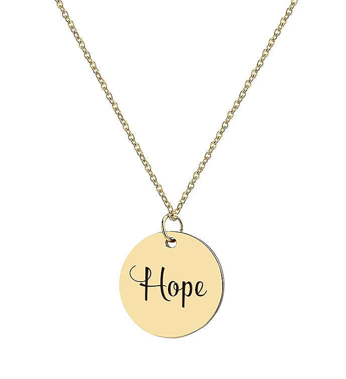 Hope Engraved Motivational Necklace
