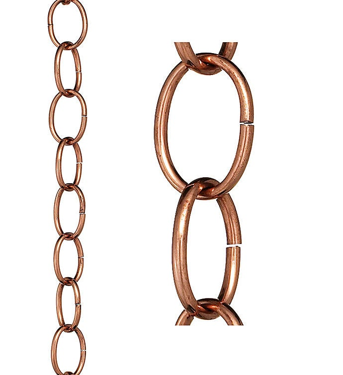 Small Single Link Pure Copper 85 Ft Rain Chain