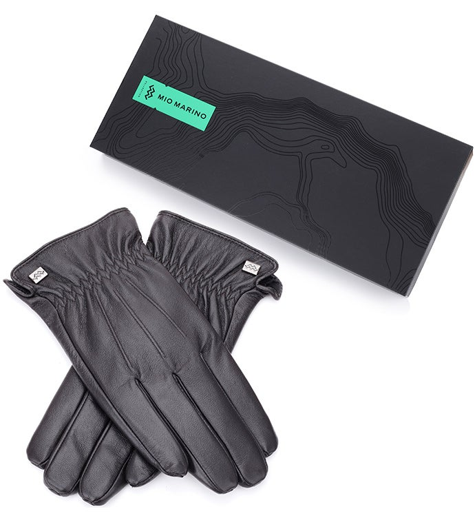 Mio Marino Classic Design Nappa Leather Gloves - Dark Chocolate