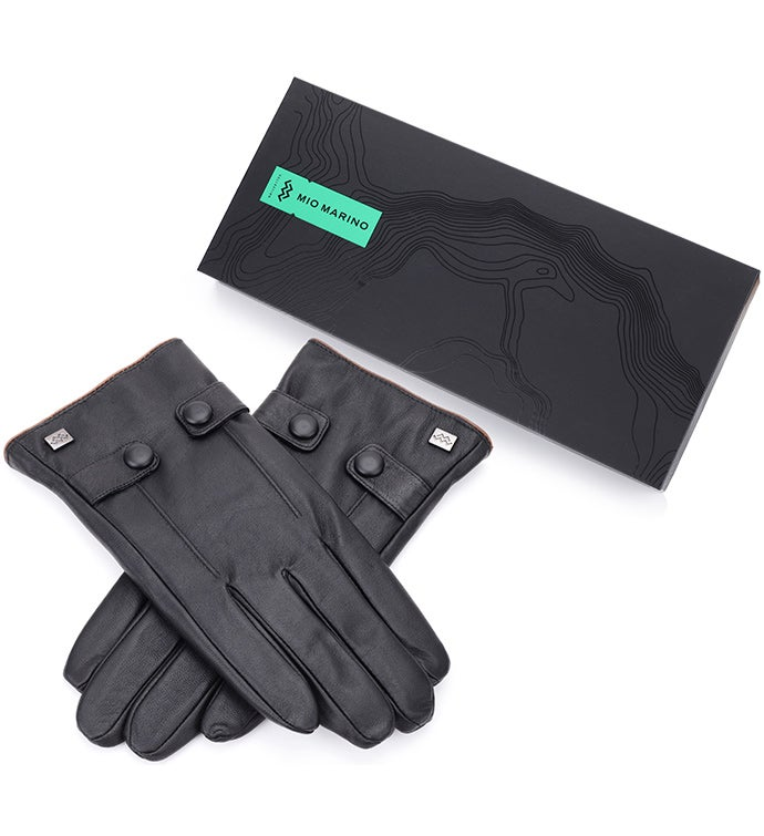 Mio Marino Button Loop Nappa Leather Gloves - Black