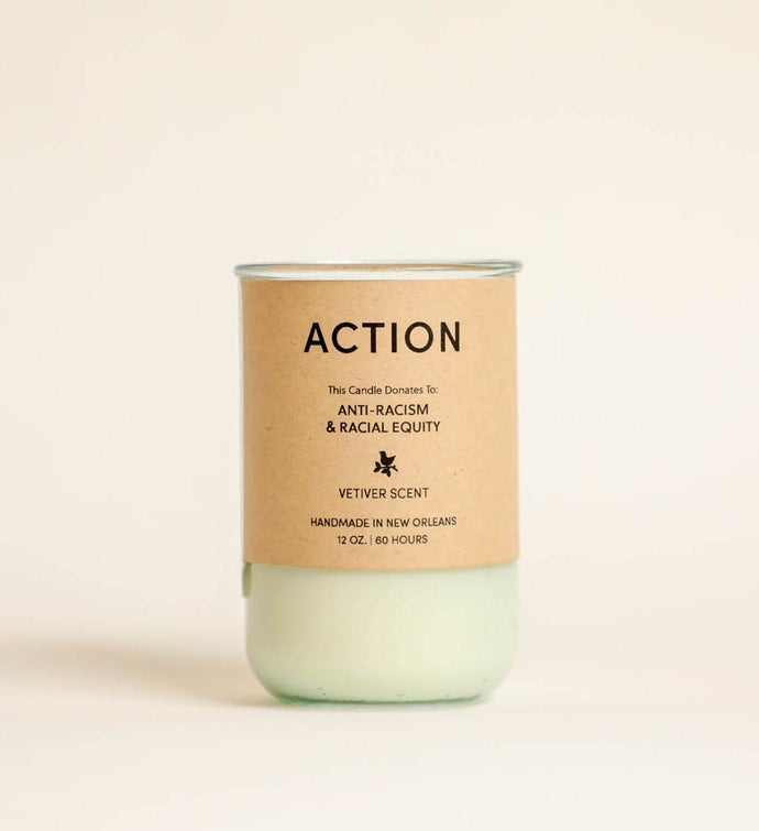 Action - Vetiver Scent Candle Gives To Racial Equity  Anti-Racism