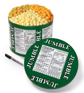Word Jumble 2 Gallon 3-Flavor Popcorn Tins