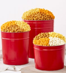 Simplly Red 2 Gallon 3-Flavor Popcorn Tin