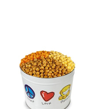 Peace, Love and Popcorn 2 Gallon 3-Flavor Popcorn Tin