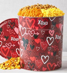 Graffiti Hearts 6 1/2 Gallon Popcorn Tin
