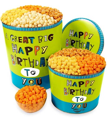 Great Big Happy Birthday Popcorn Tins