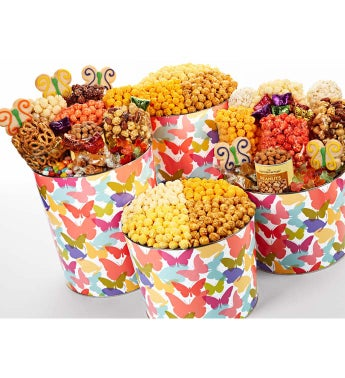 Butterfly Snack Assortments and Popcorn Tins