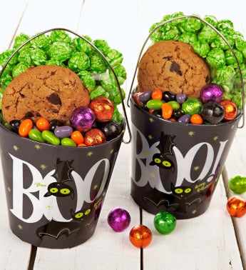 Set of 2 Boo Bats Treat Pails