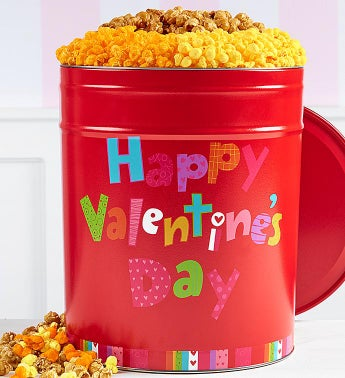 Happy Valentine's Day 6 1/2 Gallon Popcorn Tins