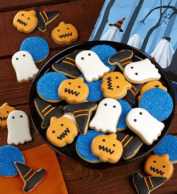 Trick or Trees Fancy Decorated Cookies