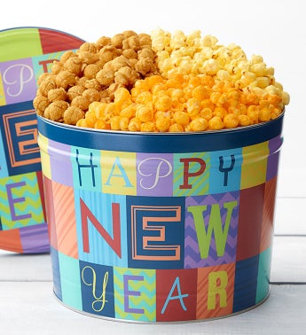 Happy New Year Popcorn Tin