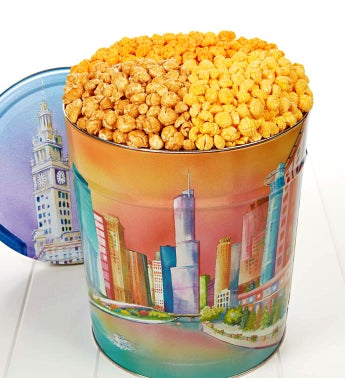 <BR>Chicago Skyline 3 1/2 Gallon 3-Flavor Popcorn Tin
