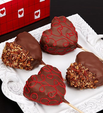 Set of 4 Chocolate Caramel Dipped Popcorn Hearts