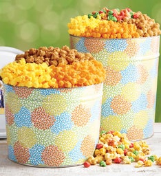 Summer Blossoms 3-1/2 Gallon Popcorn Tins