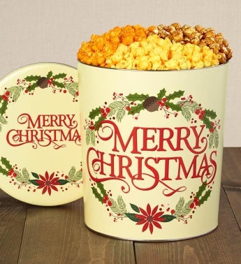 Merry Christmas 3 1/2 Gallon Popcorn Tin