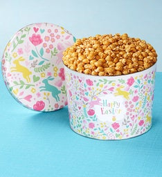 2 Gallon Happy Easter Sugar Free Caramel Popcorn Tins